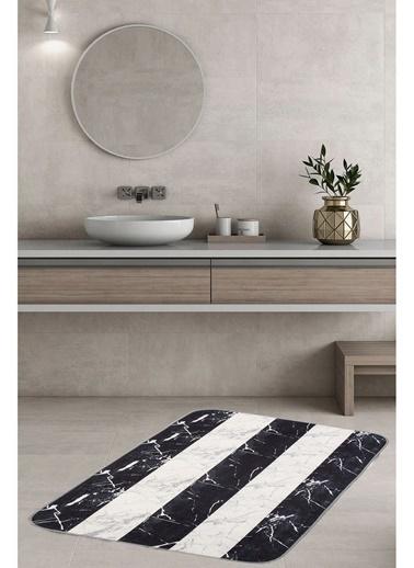 Hamur Marble 75x125 cm Banyo Paspası Kaymaz Taban Banyo Halısı Siyah